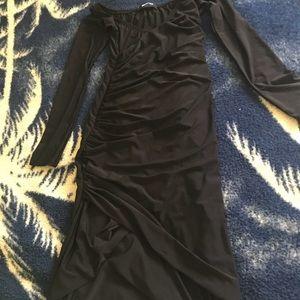 Missguided slinky black off shoulder dress
